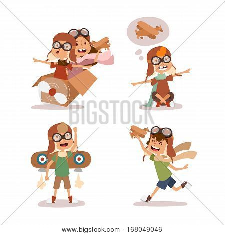 Small cartoon vector kids playing pilot aviation. Childhood games dreaming concept. Cartoon boys, girls like plane toys icons. Active lifestyle happiness character.
