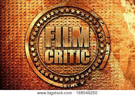 film critic, 3D rendering, grunge metal stamp