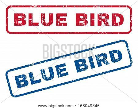 Blue Bird text rubber seal stamp watermarks. Vector style is blue and red ink tag inside rounded rectangular banner. Grunge design and dust texture. Blue and red signs.