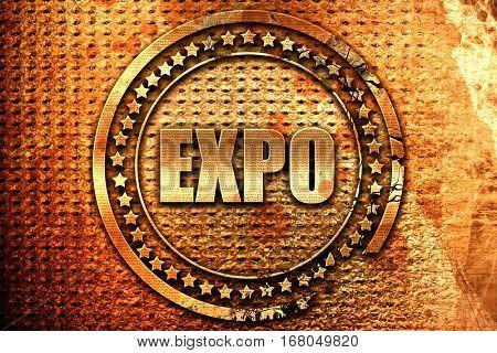 expo, 3D rendering, grunge metal stamp