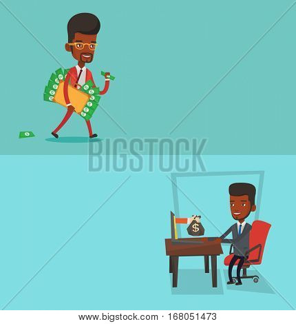 Two business banners with space for text. Vector flat design. Horizontal layout. Businessman getting bag of money coming out of laptop. Man earning money from online business. Online business concept.