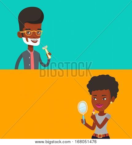 Two beauty banners with space for text. Vector flat design. Horizontal layout. Man shaving his face. Man with shaving cream on his face and razor in hand. Young man prepping face for daily shaving.