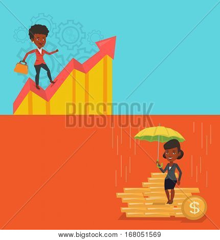 Two business banners with space for text. Vector flat design. Horizontal layout. Businesswoman standing on profit chart. Business woman running along the profit chart. Concept of business profit.