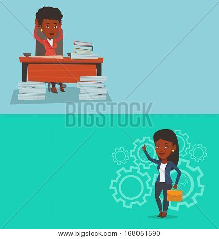 Two business banners with space for text. Vector flat design. Horizontal layout. Woman sitting at workplace with heaps of papers. Stressful business woman sitting at the desk with stacks of papers.