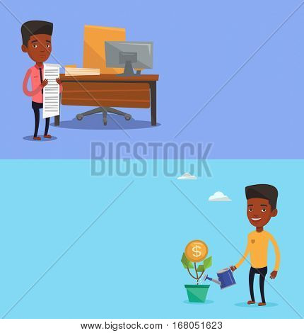 Two business banners with space for text. Vector flat design. Horizontal layout. Businessman watering financial flower. Businessman investing in future financial safety. Man taking care of finances.