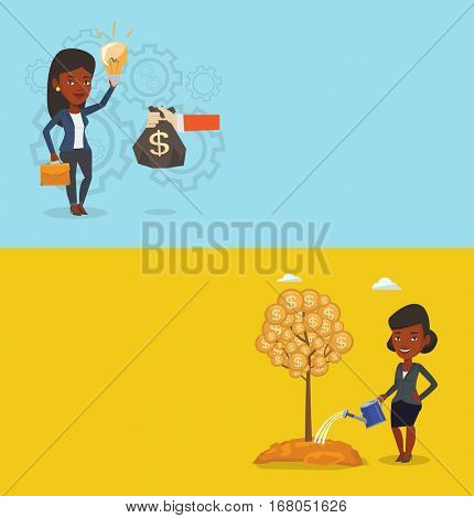 Two business banners with space for text. Vector flat design. Horizontal layout. Woman watering tree and investing money in business. Illustration of investment money in business. Investment concept.