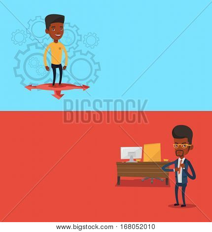 Two business banners with space for text. Vector flat design. Horizontal layout. African businessman thinking between three alternative options. Businessman choosing between three different options.