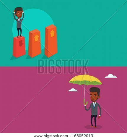 Two business banners with space for text. Vector flat design. Horizontal layout. Frightened bankrupt clutching his head. Young bankrupt standing on chart going down. Concept of business bankruptcy.