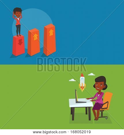 Two business banners with space for text. Vector flat design. Horizontal layout. African-american businesswoman looking at business start up rocket. Businesswoman working on a new business start up.
