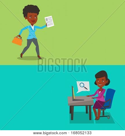 Two business banners with space for text. Vector flat design. Horizontal layout. African-american business woman with briefcase and a document running in a hurry. Business woman running to success.