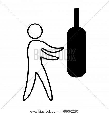 boxing figure human silhouette vector illustration design