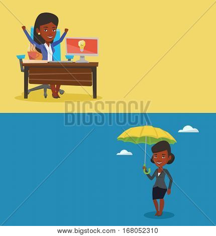 Two business banners with space for text. Vector flat design. Horizontal layout. African-american female insurance agent. Insurance agent standing safely under umbrella. Business insurance concept.