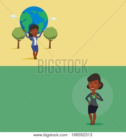 Two business banners with space for text. Vector flat design. Horizontal layout. Businesswoman holding Earth globe over head. Businesswoman taking part in global business. Concept of global business.