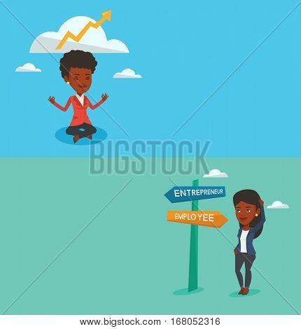 Two business banners with space for text. Vector flat design. Horizontal layout. Young woman standing at road sign with two career pathways - entrepreneur and employee. Woman choosing career pathway.