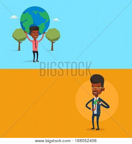 Two business banners with space for text. Vector flat design. Horizontal layout. Young businessman putting money bribe in his pocket. Businessman hiding money bribe in jacket pocket. Bribery concept.