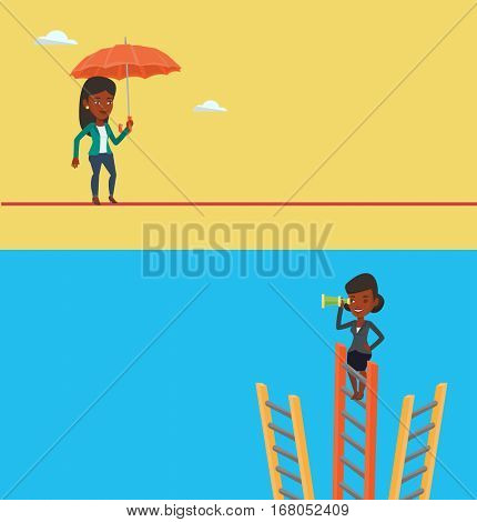 Two business banners with space for text. Vector flat design. Horizontal layout. Woman standing on ladder and looking through spyglass for business opportunities. Business opportunities concept.