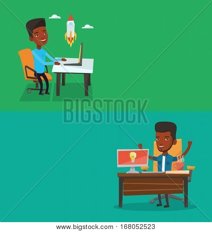 Two business banners with space for text. Vector flat design. Horizontal layout. Businessman having creative idea. Man working on a computer with business idea bulb on a screen. Business idea concept.