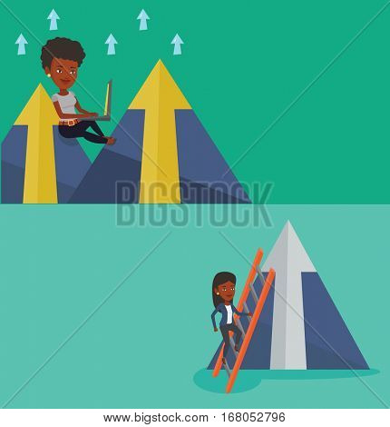 Two business banners with space for text. Vector flat design. Horizontal layout. Business woman working on laptop on the mountain. Business woman sitting on the top of the mountain and using laptop.