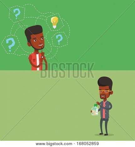 Two business banners with space for text. Vector flat design. Horizontal layout. African businessman holding money box. Businessman saving money in glass jar. Businessman putting money into glass jar.
