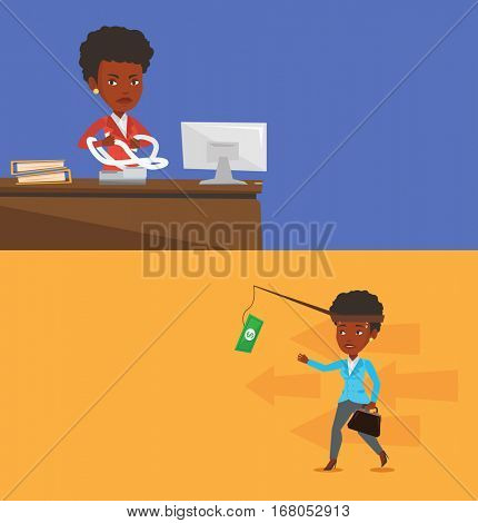 Two business banners with space for text. Vector flat design. Horizontal layout. Annoyed business woman sitting in office and tearing furiously bills. Young angry business woman calculating bills.