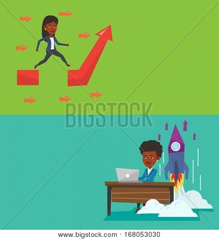 Two business banners with space for text. Vector flat design. Horizontal layout. Businesswoman working on a laptop on business start up and rocket taking off behind her. Business start up concept.