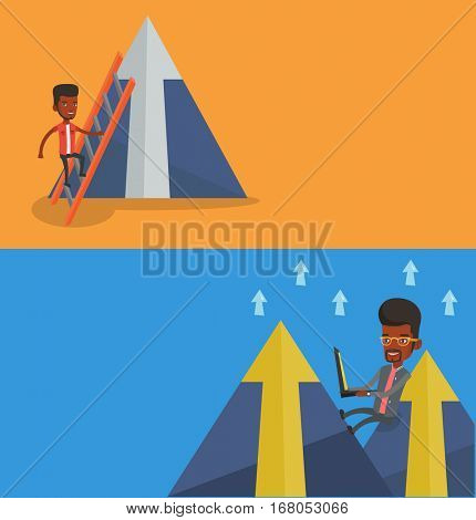 Two business banners with space for text. Vector flat design. Horizontal layout. Businessman climbing the ladder. Happy businessman climbing on mountain. Businessman climbing to the top of arrow.