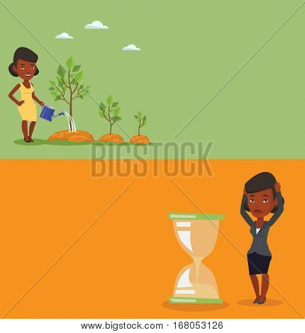 Two business banners with space for text. Vector flat design. Horizontal layout. Woman looking at hourglass symbolizing deadline. Woman worrying about deadline terms. Time management, deadline concept