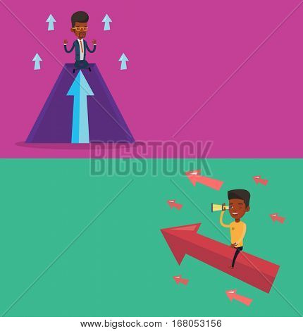 Two business banners with space for text. Vector flat design. Horizontal layout. Businessman meditating on mountain with growth graph. Businessman thinking about growth graph. Business growth concept.