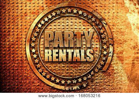 party rentals, 3D rendering, grunge metal stamp