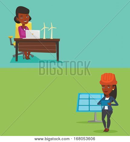 Two ecology banners with space for text. Vector flat design. Horizontal layout. Engineer working on tablet at solar power plant. Worker with tablet computer checking solar panel at solar power plant.
