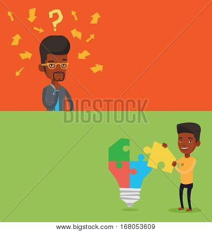 Two business banners with space for text. Vector flat design. Horizontal layout. Businessman completing an idea bulb made of puzzle. Man inserts puzzle in idea bulb. Business solution, idea concept.