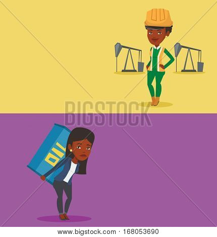 Two ecology banners with space for text. Vector flat design. Horizontal layout. Worker of oil industry carrying barrel on back. Worker walking with oil barrel on back. Worker holding heavy oil barrel.