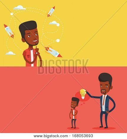 Two business banners with space for text. Vector flat design. Horizontal layout. Businessman looking at flying rockets. Businessman came up with an idea for business startup. Business startup concept.