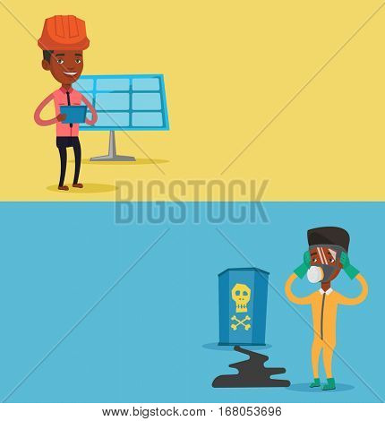 Two ecology banners with space for text. Vector flat design. Horizontal layout. Worried man in respirator and radiation protective suit clutching head.Man looking at leaking barrel with radiation sign