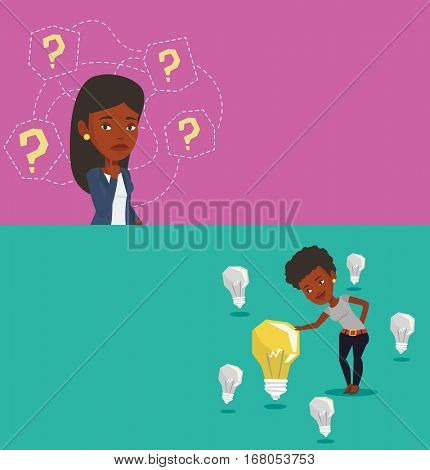 Two business banners with space for text. Vector flat design. Horizontal layout. Businesswoman thinking under question marks. Thinking woman surrounded by question marks. Business thinking concept