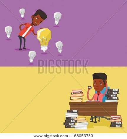 Two business banners with space for text. Vector flat design. Horizontal layout. Businessman having business idea. Businessman standing among unlit light bulbs and looking at the brightest idea bulb.