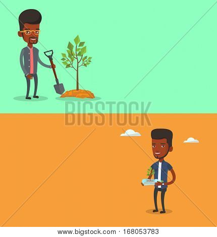 Two ecology banners with space for text. Vector flat design. Horizontal layout. Man holding plastic bottle with plant inside. Man holding plastic bottle used as plant pot. Plastic recycling concept
