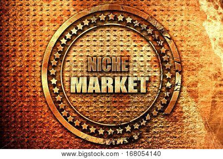 niche market, 3D rendering, grunge metal stamp