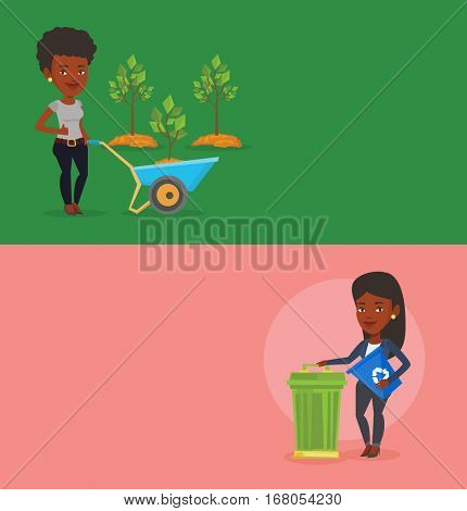 Two ecology banners with space for text. Vector flat design. Horizontal layout. African woman carrying recycling bin. Woman holding recycling bin while standing near trash can. Waste recycling concept