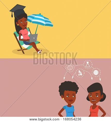 Two educational banners with space for text. Vector flat design. Horizontal layout. Students sharing with the ideas during brainstorm. African students brainstorming. Brainstorm in education concept.