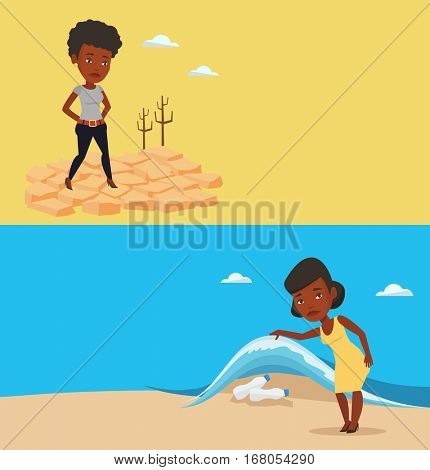 Two ecology banners with space for text. Vector flat design. Horizontal layout. Woman standing in the desert. Woman standing on cracked earth in the desert. Climate change and global warming concept.
