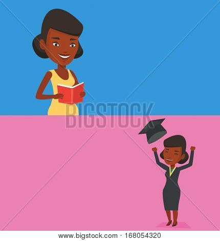 Two educational banners with space for text. Vector flat design. Horizontal layout. Excited graduate in cloak and graduation hat. Graduate throwing up her hat. Graduate with hands raised celebrating.