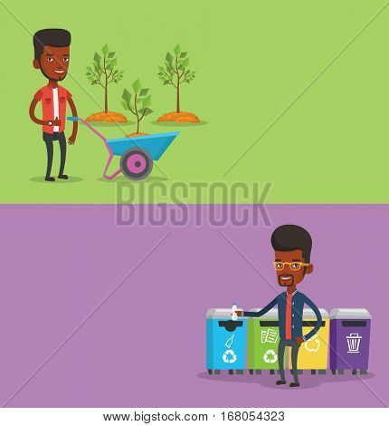 Two ecology banners with space for text. Vector flat design. Horizontal layout. African-american man throwing away garbage. Man standing near four bins and throwing away garbage in an appropriate bin.