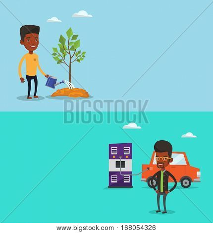 Two ecology banners with space for text. Vector flat design. Horizontal layout. African-american man charging electric car at charging station. Young man standing near power supply for electric car.