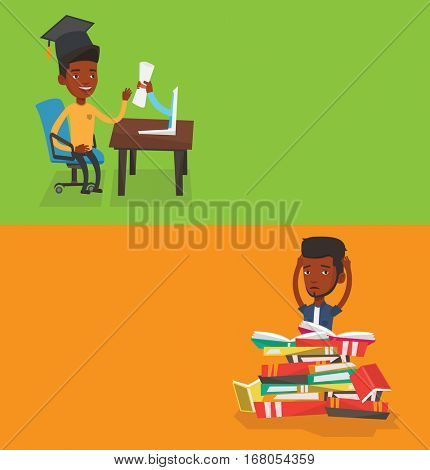 Two educational banners with space for text. Vector flat design. Horizontal layout. Graduate getting diploma from the computer. Happy graduate in graduation cap receiving diploma from the computer.