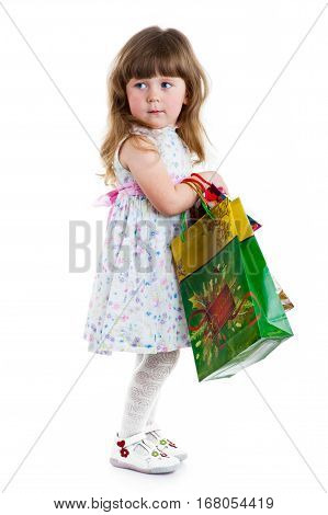little pretty girl Shopping on white background