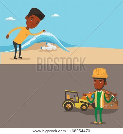 Two ecology banners with space for text. Vector flat design. Horizontal layout. Man showing plastic bottles under water of sea. Man collecting plastic bottles from water. Water pollution concept.