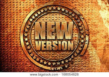 new version, 3D rendering, grunge metal stamp