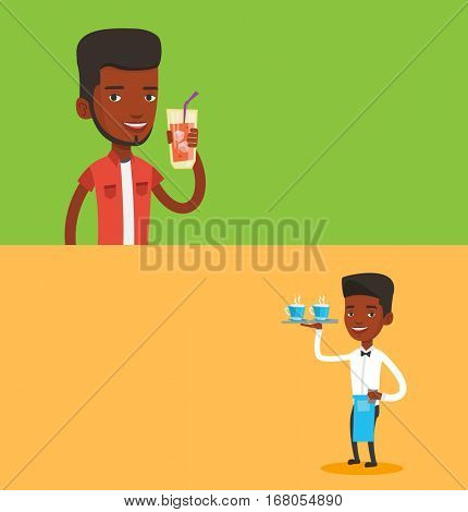 Two drinks banners with space for text. Vector flat design. Horizontal layout. Man holding cocktail glass with drinking straw. Joyful man drinking a cocktail. Young man celebrating with a cocktail.