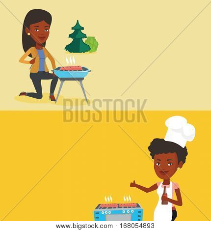 Two food banners with space for text. Vector flat design. Horizontal layout. Woman cooking steak on gas barbecue grill and giving thumb up. African woman cooking steak on the barbecue grill outdoor.